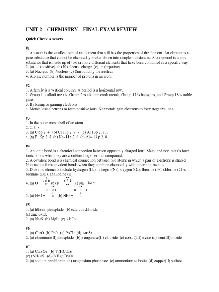 unit 2 - chemistry - final review q answers | Radioactive ...
