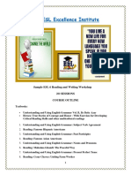 The ESL Excellence Institute Reading Writing Workshop Sample Course Outline
