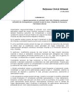 Comunicat- RCU-legea Statut mun. Chisinau