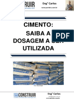 Cimento- Saiba a Dosagem ser Utilizada