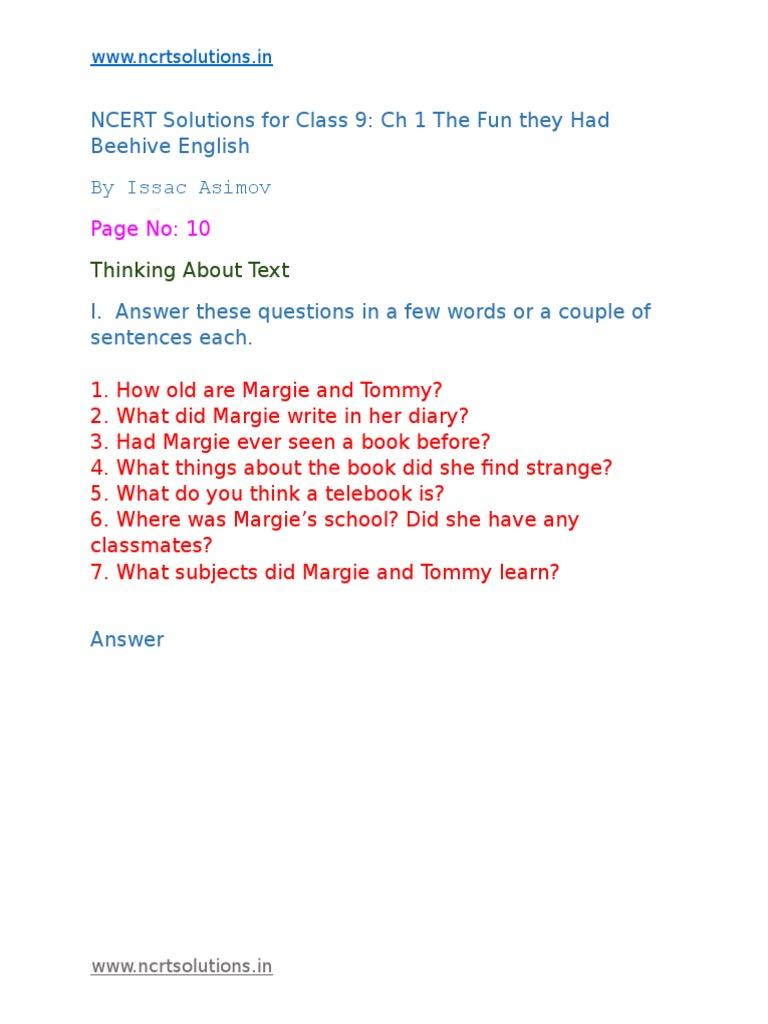 Class 9 English Beehive Ch 1 | Test (Assessment) | Classroom