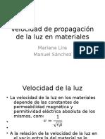 Velocidad de Propagación de La Luz en Materiales