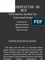 Presentation on MIS and its significance in FUNCTIONAL AREAS