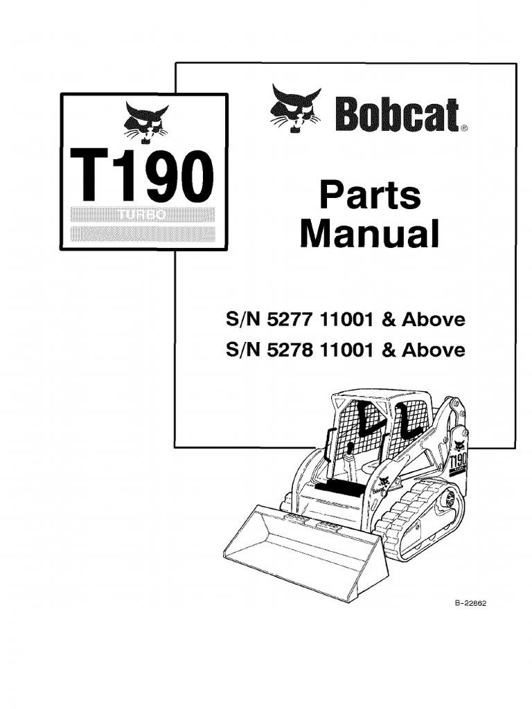 Pdf Bobcat T190 Parts Manual Sn 527711001 And Above Sn 527811001 And