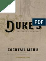 Duke's Cocktail Menu