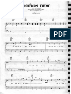 picture regarding Harry Potter Theme Song Sheet Music for Piano Free Printable named Pokémon\