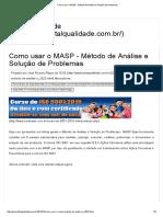Como Usar o MASP - Método de Análise e Solução de Problemas