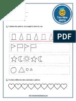 Math Grade 1 Worksheet #3 - Patterns