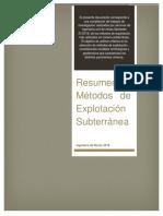 Resumen Metodos de Explotación Subterráneos