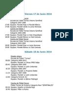 Actividades Fin de Semana 17, 18 y 19 de Junio 2016