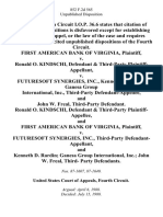 First American Bank of Virginia v. Ronald O. Kindschi, & Third-Party v. Futuresoft Synergies, Inc., Kenneth D. Rardin Ganesa Group International, Inc., Third-Party and John W. Freal, Third-Party Ronald O. Kindschi, & Third-Party and First American Bank of Virginia v. Futuresoft Synergies, Inc., Third-Party and Kenneth D. Rardin Ganesa Group International, Inc. John W. Freal, Third- Party, 852 F.2d 565, 1st Cir. (1988)