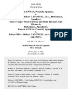 Ronald Unwin v. Police Officer Robert Campbell, State Trooper Mark Furlone and State Trooper John Ellsworth, Ronald Unwin v. Police Officer Robert Campbell, 863 F.2d 124, 1st Cir. (1988)