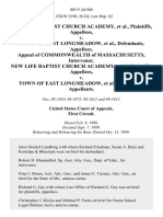 New Life Baptist Church Academy v. Town of East Longmeadow, Appeal of Commonwealth of Massachusetts, Intervenor. New Life Baptist Church Academy v. Town of East Longmeadow, 885 F.2d 940, 1st Cir. (1989)