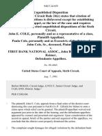 John E. Cole, Personally and as a Representative of a Class, Paula Cole, Personally and as of the Estate of John Cole, Sr., Deceased v. First Bank National Assoc., John Bustemante, Fran Reimer, 940 F.2d 659, 1st Cir. (1991)