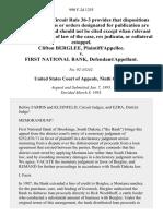 Clifton Berglee v. First National Bank, 990 F.2d 1255, 1st Cir. (1993)
