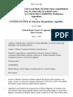 Gustavo Alberto Camacho Carbono v. United States, 993 F.2d 1530, 1st Cir. (1993)