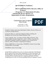 Joseph D'Errico v. General Dynamics Corporation, Director, Office of Workers' Compensation Programs, U.S. Department of Labor, and Benefits Review Board, U.S. Department of Labor, 996 F.2d 503, 1st Cir. (1993)
