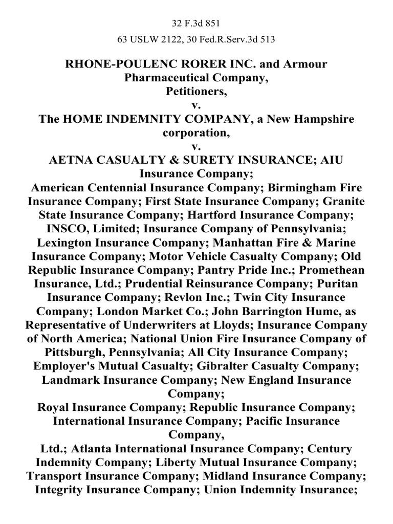 Rhone-Poulenc Rorer Inc. And Armour Pharmaceutical Company ...
