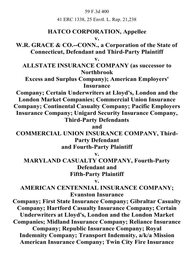 Hatco Corporation v. W.R. Grace & Co.--Conn., a ...