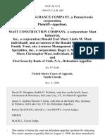 Reliance Insurance Company, a Pennsylvania Corporation v. Mast Construction Company, a Corporation
