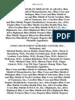 Blue Cross and Blue Shield of Alabama Blue Cross and Blue Shield of Massachusetts, Inc. Blue Cross and Blue Shield of Michigan Blue Cross and Blue Shield of Nebraska Blue Cross and Blue Shield of North Carolina Blue Cross and Blue Shield of Tennessee, Inc. Carefirst Blue Cross and Blue Shield Empire Healthchoice Assurance, Inc., D/B/A Empire Blue Cross Blue Shield Excellus Health Plan, Inc., D/B/A Excellus Blue Cross Blue Shield R.M.S.C.O., Inc. Highmark, Inc., D/B/A Highmark Blue Cross Blue Shield and D/B/A Highmark Blue Shield Premera Blue Cross Regence Blue Shield Regence Bluecross Blueshield of Utah Regence Bluecross Blueshield of Oregon Regence Blueshield of Idaho v. Unity Outpatient Surgery Center, Inc., and Mitchell Rubin Steven Rubin Daniel Rose, M.D. Mario Z. Rosenberg, M.D. Paratha Govindarajan, M.D. Rosalinda Landon Leon Halac, M.D. Byung Chun, M.D. Robert J. McKenna M.D. Ardalan Babaknia, M.D. Moustafa El Alamy, M.D. Michael Chan, M.D. Bharat Patel, M.D. Edgar Lluncor, M.D.