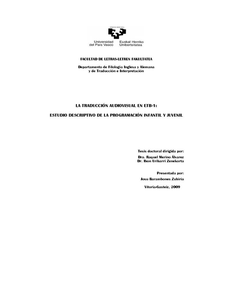 Barambones) La traducción audiovisual en ETB-1 - Euskera