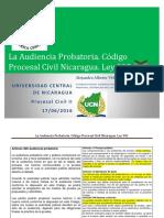 La Audiencia Probatoria en Nicaragua. Materia Civil