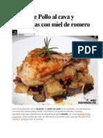Receta de Pollo Al Cava y Berenjenas Con Miel de Romero