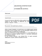 Formular Declaratie de Autenticitate a Lucrarii de Licenta
