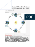 Earth is Farthest in Summer
