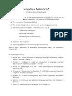 Sociocultural Factors in SLA E. Czaplak