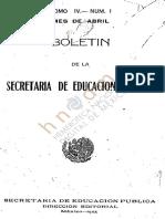 Boletin 1925, Tomo IV No. 1