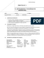 PRACTICA N°1 RECONOCIMIENTO DE MATERIALES DE LABORATORIO