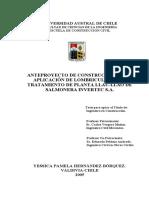 ANTEPROYECTO DE CONSTRUCCIÓN PARA APLICACIÓN DE LOMBRICULTURA AL TRATAMIENTO DE PLANTA LLAU-LLAO DE SALMONERA INVERTEC S.A.