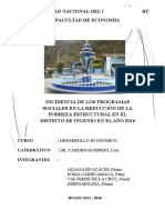 INCIDENCIA DE LOS PROGRAMAS SOCIALES Y LA REDUCCION DE LA POBREZA EN EL DISTRITO DE INGENIO