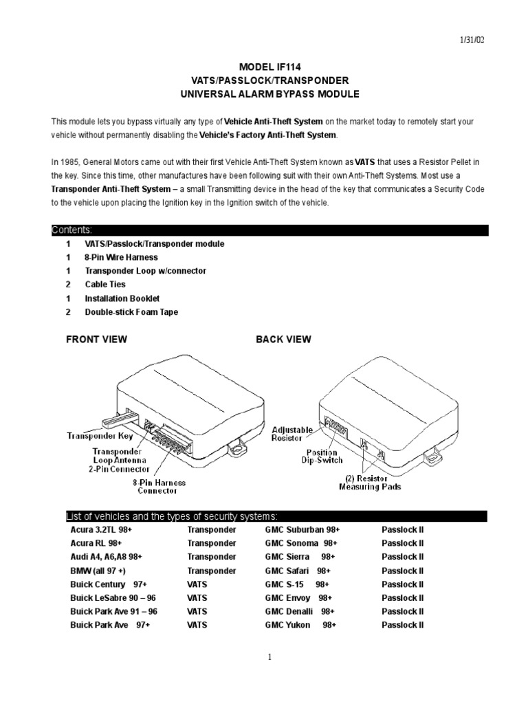 1998 chevy s10 passlock wiring diagram if 114 anti theft bypass module ignition system chevrolet  if 114 anti theft bypass module