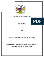 Budget Speech 2010-2011 Ministry of  GENDER Equality