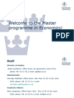 Welcome to the Master programme in Economics 2015.ppt