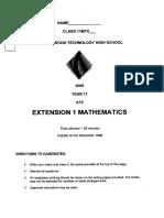Year 11 Maths 3U Pater