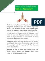 The Significance of Hindu Greeting 'Namaste' / 'Namaskar'