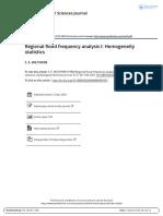 Regional Flood Frequency Analysis I Homogeneity Statistics