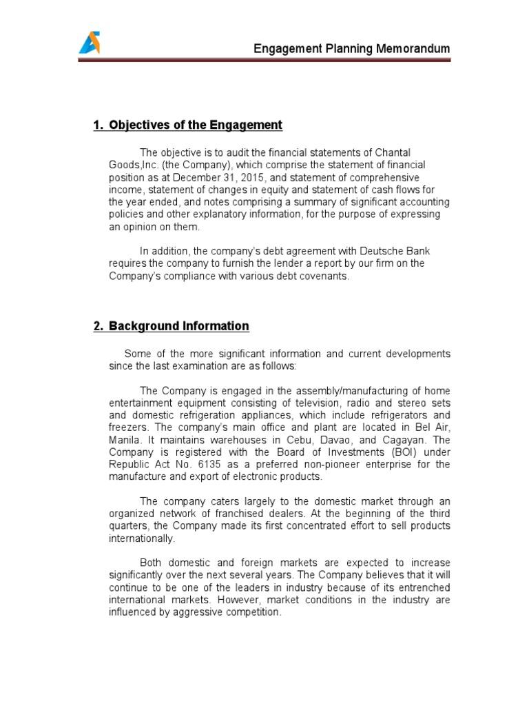 AC 521 Engagement Planning Memo | Audit | Financial Statement
