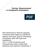 HSE Monitoring, Measurement & Compliance Evaluation