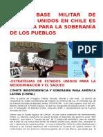 Nueva Base Militar de Estados Unidos en Chile Es Amenaza Para La Soberanía de Los Pueblos