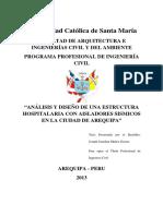 Análisis y Diseño de Una Estructura Hospitalaria Con Aisladores Sismicos en La Ciudad de Arequipa