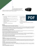 Sony VPL-VW600ES Marketing Specifications