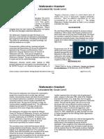 Mathematics Standard Articulated by Grade Level