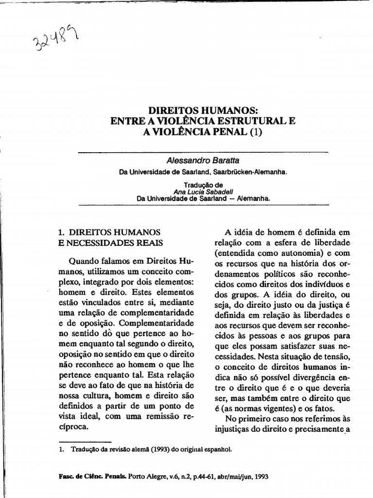 Alessandro Baratta - Direitos Humanos - Entre a Violência Estrutural ...