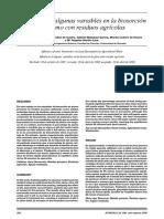 Influencia de algunas variables en la biosorción de plomo con residuos agrícolas
