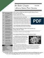 Milo Baker Chapter Newsletter, March 2006 ~ California Native Plant Society